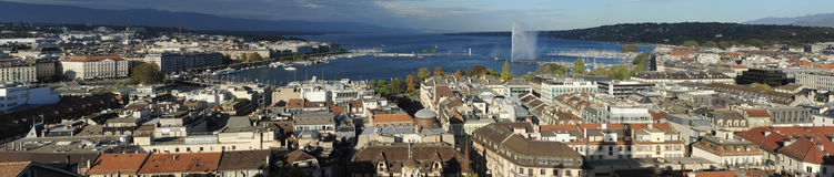 View at the city of Geneva on lake Leman Stock Image