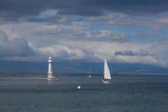 View of city of Geneva, the Leman Lake Royalty Free Stock Image