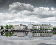 View of city  Geneva, the Leman Lake Stock Images