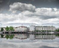 View of city  Geneva, the Leman Lake Stock Images
