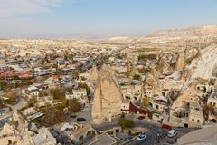 View of the city of Goreme in Cappadocia stock image