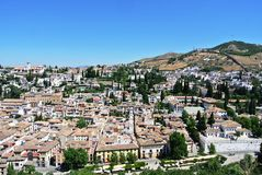 View on the city of Granada from Alhambra Royalty Free Stock Photos