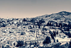 View on the city of Granada from Alhambra in black and white; vintage style Stock Photo