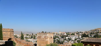 View of the city of Granada and the Alhambra Palace - the medieval Moorish castle in Granada Stock Photos