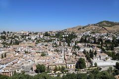 View of the city of Granada and the Alhambra Palace - the medieval Moorish castle in Granada, Andalucia, Spain Stock Photo