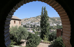 View of the city of Granada and the Alhambra Palace - the medieval Moorish castle in Granada, Andalucia, Spain Royalty Free Stock Photography