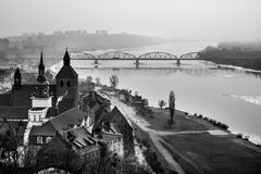 View of the city of Grudziadz from the castle tower towards the. Bridge across the Vistula. Season of the early spring stock photo