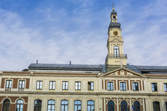 View of City hall and the main square in old city of Riga, Latvi Stock Photos