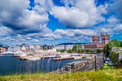 View of City Hall in Oslo, Norway royalty free stock image