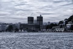 View of city hall in oslo. From sea royalty free stock photos