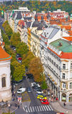 View from City Hall on Parizhska street, the main shopping street . Prague, Czech Republic Royalty Free Stock Images