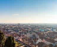 View of Graz City from castle hill Schlossberg, Travel destination stock photos