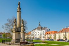View at the city hall of Valtice with baroque column - Czech rep Royalty Free Stock Images
