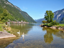 View of the city Hallstatt and the Hallstatt lake Royalty Free Stock Photography