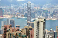 View of city and harbor in Hongkong Royalty Free Stock Images