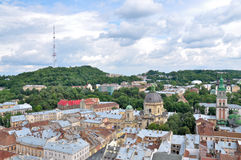 View of the city from height. View of the city of Lviv from height Royalty Free Stock Photo