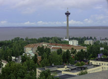 View of the city from a height. Tampere, Finland. Royalty Free Stock Photo
