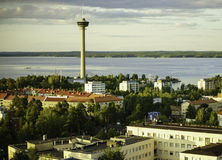 View of the city from a height. Tampere, Finland. Royalty Free Stock Image