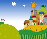 View of the city on hill. Colorful graphic illustration for children Royalty Free Stock Photography
