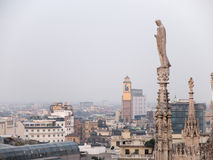 View of City from Historic Milan Cathedral royalty free stock photos