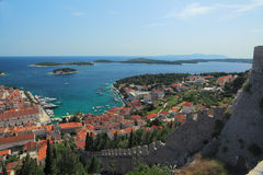View of the city of Hvar from a fortress. Island Hvar. Croatia. Royalty Free Stock Images
