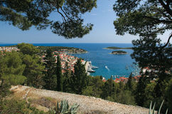 View of the city of Hvar from a fortress. Island Hvar. Croatia. Stock Image