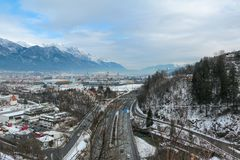 View of the city of Innsbruck Train rails Royalty Free Stock Images