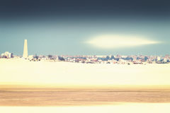 View of the city of Ismailia with light reflex in the sky from t Royalty Free Stock Photo