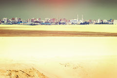 View of the city of Ismailia with light reflex in the sky from t Royalty Free Stock Photography