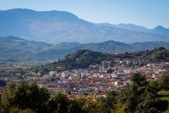 A view of the city of Kalampaka where the main attraction of the north of Greece is located. The Christian temple complex of Orthodox monasteries in Meteora royalty free stock photography