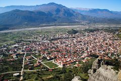 A view of the city of Kalampaka where the main attraction of the north of Greece is located. The Christian temple complex of Orthodox monasteries in Meteora royalty free stock images