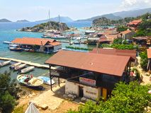 View from the city Kalekoy. View from the town of Kalekoy on the island of Kekova, the bay and yachts Royalty Free Stock Photo
