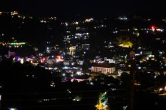 View of the city of Kandy in the illumination. View of the city of Kandy in the illumination at night royalty free stock photo