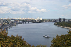 View of the city Kiev and the Dnieper River with a new bridge Stock Photography
