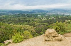 View of the city of Kislovodsk and the surrounding area with heights of the mountains.North Caucasus Royalty Free Stock Photo