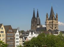 View of the city of Koeln. KOELN, GERMANY - CIRCA AUGUST 2009: View of the city and the cathedral Stock Photo