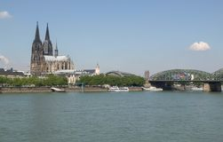 View of the city of Koeln. KOELN, GERMANY - CIRCA AUGUST 2009: View of the city from river Rhine, with the cathedral Stock Photography