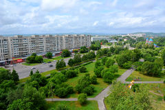 View of the city of Komsomolsk-on-Amur, Russia. Panoramic view of the city of Komsomolsk-on-Amur, Russia royalty free stock image