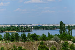 View on a city Komsomolsk and river Dnieper. View on city Komsomolsk and river Dnieper Stock Photography