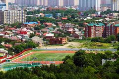 View of the city of Krasnodar with fudbolny field royalty free stock image