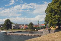 View of city from Kristiansholm. Kristiansand, Norway. 2018-07-11 stock photos
