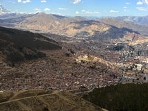 View of the city La Paz in Bolivia Royalty Free Stock Image