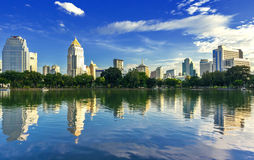 View of the city and lake. Royalty Free Stock Photo