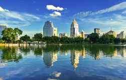 View of the city and lake. Royalty Free Stock Photos