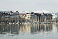 View of the city and Lake Geneva in Switzerland stock image