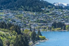View of the city and the lake Wakatipu, Queenstown, New Zealand. Copy space for text. Top view royalty free stock photos
