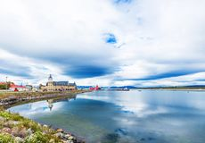 View of the city and landscape, Puerto Natales, Chile. Copy space for text royalty free stock photos