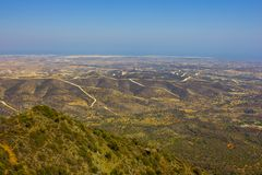 View of the city of Larnaca and windmills from the mountain Royalty Free Stock Photo