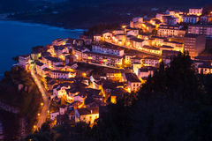 View of the city of Lastres at nightfall,II,Asturias.Spain Stock Photo