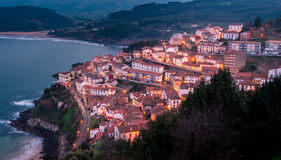 View of the city of Lastres at sunset, Asturias.Spain Royalty Free Stock Photos